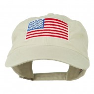 American Flag Embroidered Washed Cap - Stone Grey