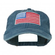 American Flag Embroidered Washed Cap - Navy
