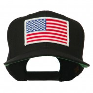 White American Flag Wool Blend Prostyle Patched Cap - Black