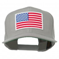 White American Flag Wool Blend Prostyle Patched Cap - Silver