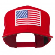 White American Flag Wool Blend Prostyle Patched Cap - Red