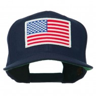 White American Flag Wool Blend Prostyle Patched Cap - Navy