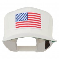 White American Flag Wool Blend Prostyle Patched Cap - White