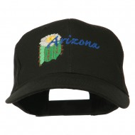 USA State Arizona Flower Embroidered Low Profile Cotton Cap - Black