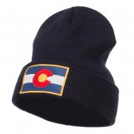 Colorado Flag Embroidered Long Beanie - Navy