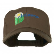 USA State Arizona Flower Embroidered Low Profile Cotton Cap - Brown
