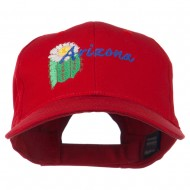 USA State Arizona Flower Embroidered Low Profile Cotton Cap - Red