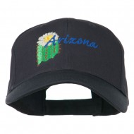 USA State Arizona Flower Embroidered Low Profile Cotton Cap - Navy