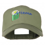 USA State Arizona Flower Embroidered Low Profile Cotton Cap - Olive