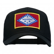 Arkansas State Flag Patched Mesh Cap - Black