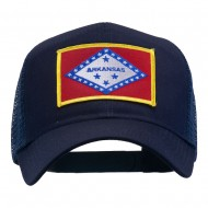 Arkansas State Flag Patched Mesh Cap - Navy