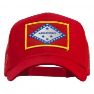 Arkansas State Flag Patched Mesh Cap - Red
