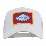 Arkansas State Flag Patched Mesh Cap - White