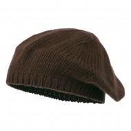 Classic Acrylic Knit Ladies Beret - Brown