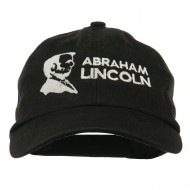 Abraham Lincoln Embroidered Washed Cap - Black