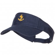 Anchor Logo Embroidered Cotton Washed Visor - Navy