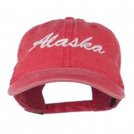 US State Alaska Embroidered Washed Cap - Red