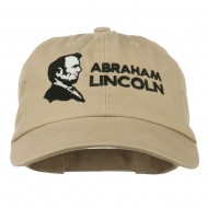 Abraham Lincoln Embroidered Washed Cap - Khaki