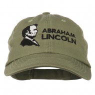 Abraham Lincoln Embroidered Washed Cap - Olive
