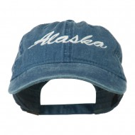 US State Alaska Embroidered Washed Cap - Navy