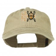 Africa Mask Embroidered Washed Pigment Dyed Cap - Khaki