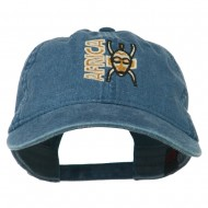 Africa Mask Embroidered Washed Pigment Dyed Cap - Navy