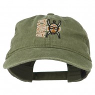 Africa Mask Embroidered Washed Pigment Dyed Cap - Olive Green