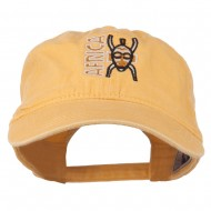 Africa Mask Embroidered Washed Pigment Dyed Cap - Yellow