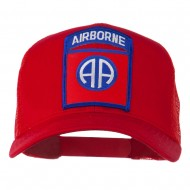 82nd Airborne Military Patched Mesh Cap - Red