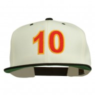 Arial Number 10 Embroidered Classic Two Tone Snap Back Cap - Natural Black