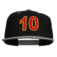 Arial Number 10 Embroidered Classic Two Tone Snap Back Cap - Black Silver