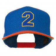 Athletic Number 2 Embroidered Classic Two Tone Cap - Royal Orange