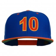 Arial Number 10 Embroidered Classic Two Tone Snap Back Cap - Royal Orange