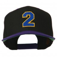 Athletic Number 2 Embroidered Classic Two Tone Cap - Black Purple