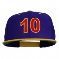 Arial Number 10 Embroidered Classic Two Tone Snap Back Cap - Purple Gold