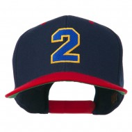 Athletic Number 2 Embroidered Classic Two Tone Cap - Navy Red