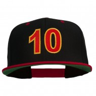 Arial Number 10 Embroidered Classic Two Tone Snap Back Cap - Black Red