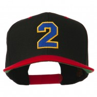 Athletic Number 2 Embroidered Classic Two Tone Cap - Black Red