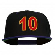 Arial Number 10 Embroidered Classic Two Tone Snap Back Cap - Black Purple