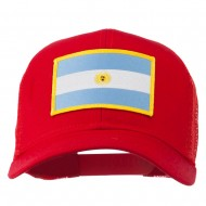 Argentina Flag Patched Mesh Cap - Red