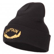 Captain Oak Leaf Embroidered Long Knitted Beanie - Black