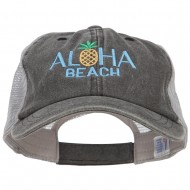 Aloha Beach Embroidered Washed Twill Trucker Cap - Black Grey