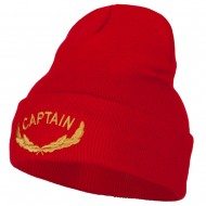 Captain Oak Leaf Embroidered Long Knitted Beanie - Red