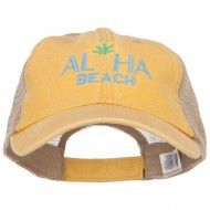 Aloha Beach Embroidered Washed Twill Trucker Cap - Mango Tan