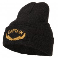 Captain Oak Leaf Embroidered Long Knitted Beanie - Heather Charcoal