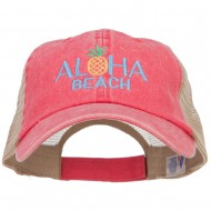 Aloha Beach Embroidered Washed Twill Trucker Cap - Red Tan