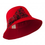 Wool Felt Hat with Animal Print Bow - Red