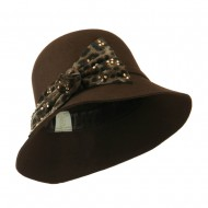 Wool Felt Hat with Animal Print Bow - Brown