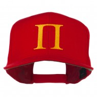 Greek Alphabet PI Embroidered Flat Bill Cap - Red
