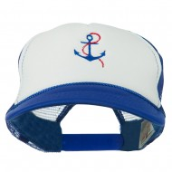Anchor with Chain Embroidered Foam Mesh Back Cap - Royal White